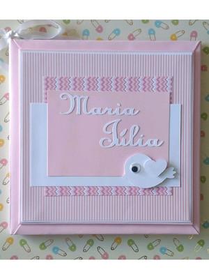 diário livro do bebê passarinho scrap rosa scrapbook menina