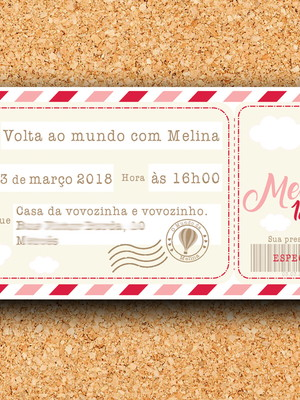 Convite Aniversário Passagem Viagem Rosa - digital