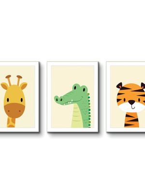 Kit 3 Quadros Infantil, Animais da Floresta, Moldura e Vidro