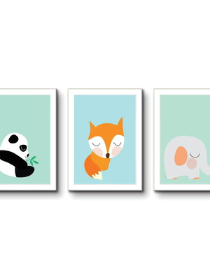 Quadros Infantil, Raposa, Panda, Elefante, Moldura e Vidro
