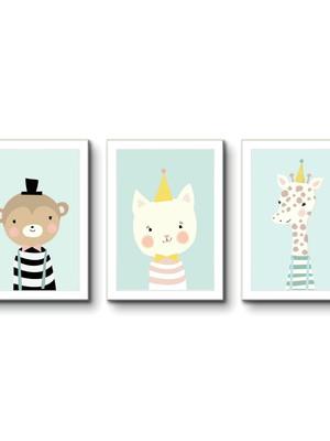 Kit 3 Quadros Infantil, Animais, Escandinavo Moldura e Vidro
