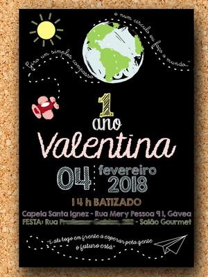 Convite Aquarela Aniversário e Batizado Chalkboard (digital)