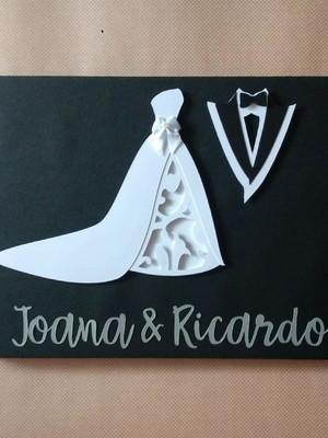 scrapbook mensagens e fotos noivos casamento preto & branco