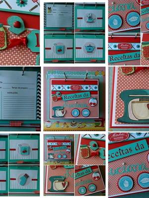 Caderno de Receitas personalizado vermelho e tiffany