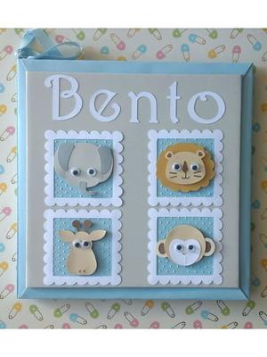 Livro Do Bebê Safari menino scrapbook azul e cinza
