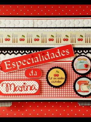 Caderno de Receitas Fichário Personalizado vermelho e preto