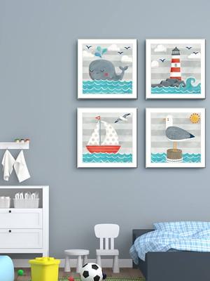 Kit 4 Quadros Infantil, Tema Marítimo, Moldura e Vidro