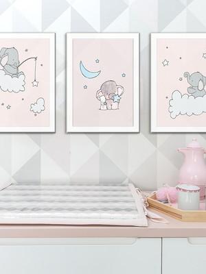 Kit 3 Quadros para quarto infantil com Moldura e Vidro