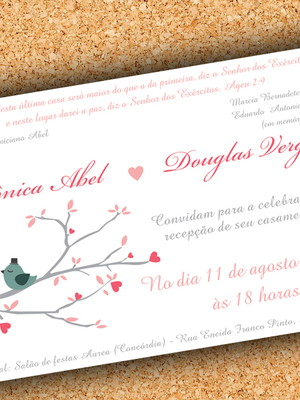 Arte Convite Casamento Passarinhos