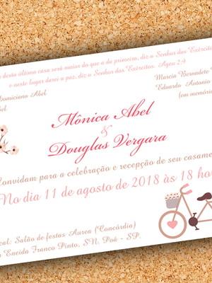 Arte Convite Casamento Bicicleta