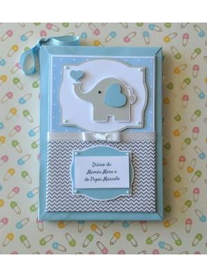 Diário da Gravidez Personalizado elefantinho azul e cinza