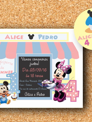 Convite + tag Confeitaria Minnie e Mickey - digital