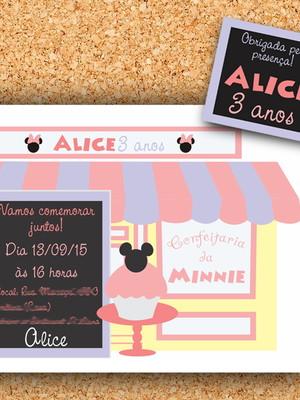 Convite + tag Confeitaria Minnie - digital