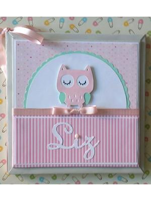 diario do bebe menina corujinha cinza e rosa scrapbook