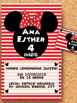 Convite + tag Minnie Vermelha (digital)