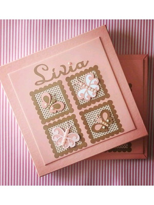 Livro Do Bebê e Caixa borboletinhas scrapbook rosa e marrom