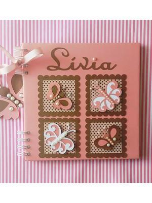 caderno personalizado bebê menina chá maternidade borboleta