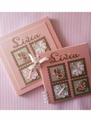 caderno personalizado chá bebê maternidade menina borboletas