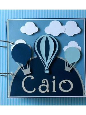 caderno personalizado para menino chá de bebê balões scrap