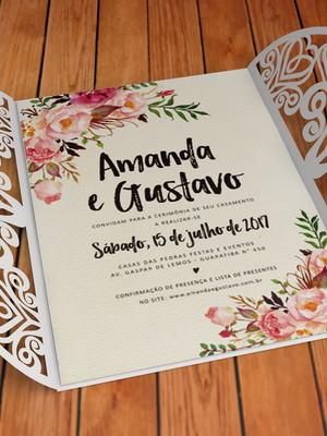 Arquivo Convite de Casamento Floral Corações