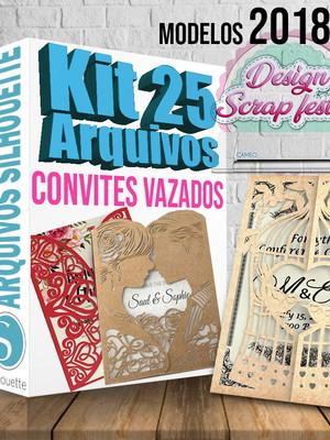 Kit 25 ARQUIVOS para convites vazados
