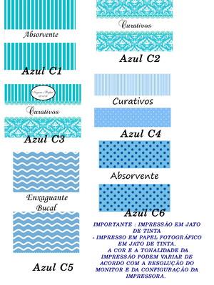 rótulos kit banheiro impresso e recortados - azul claro