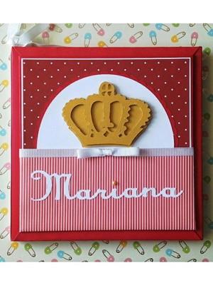 livro bebê menina princesa marsala coroa dourada scrapbook