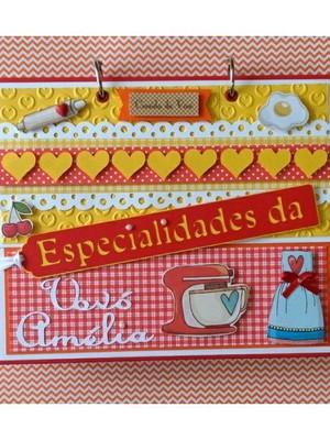 Caderno Receitas Fichário Personalizado chá de cozinha noiva