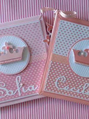 Livros dos Bebês Gêmeas princesa menina scrapbook rosa claro