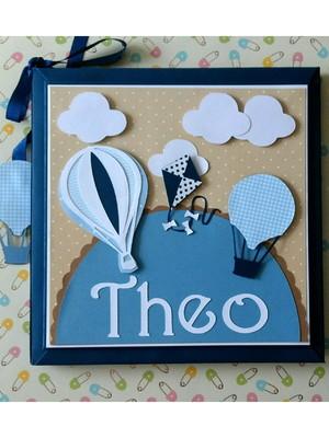 Diário bebê personalizado e caixa menino baloes nuvens azul