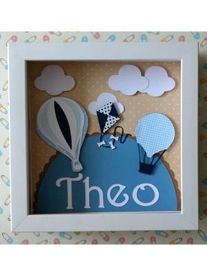 Quadro porta maternidade balões azul bebê menino scrapbook