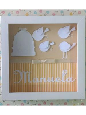 Quadro porta maternidade quarto bebê passarinho scrapbook