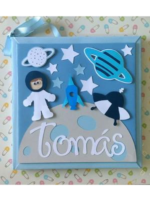 Diário do bebê personalizado menino astronauta tons de azul
