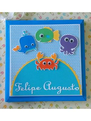 livro bebê personalizado menino fundo do mar colorido