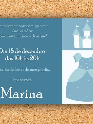 Convite Princesa Cinderela Castelo - digital