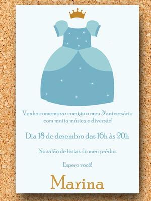 Convite Princesa Cinderela Vestido - digital