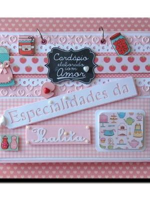 Caderno de Receitas personalizado candy color roa e azul