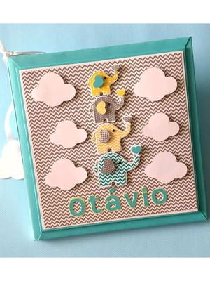 álbum diário bebê personalizado menino elefantinho colorido