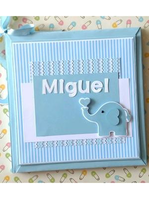 livro bebê personalizado menino elefantinho scrapbook azul