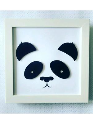 Quadro decorativo bebê panda scrapbook preto e branco