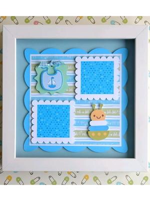 Quadro decorativo bebê menino scrapbook 2 fotos pequenas