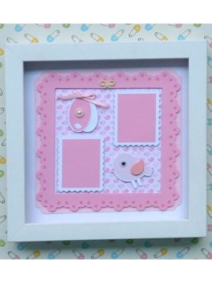 Quadro decorativo bebê menina scrapbook 2 fotos pequenas