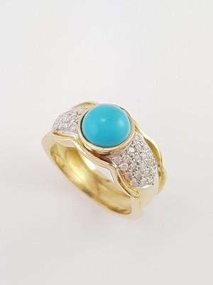 Anel de Ouro 18k com Turquesa e Diamantes