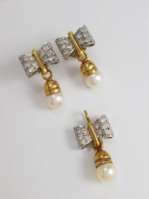 Conj. Brincos e Pendente de Ouro com Diamantes e Pérolas