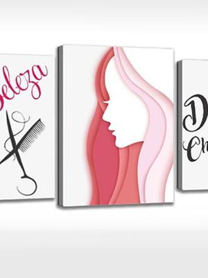 Quadro Personalizada Salão de Beleza Cabeleira e Maquiadora