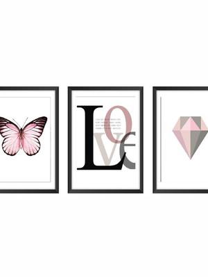 Trio de Quadros de Borboletas e Love, Moldura e Vidro