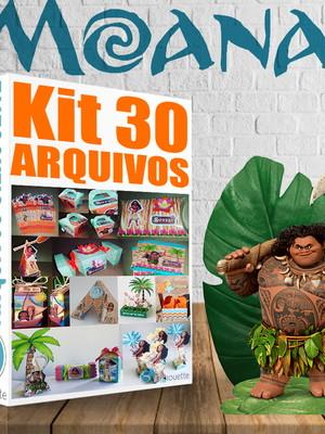 Kit com 30 Arquivos Silhouette Festa Moana