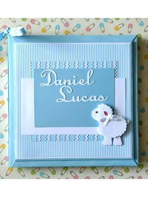diário livro bebê menino personalizado ovelhinha scrapbook