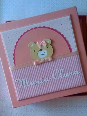 livro do bebê menina com caixa ursinha fofa scrap