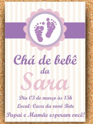 Convite pézinho - chá de bebê Digital
